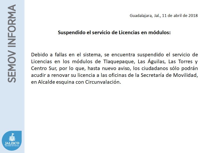 Suspendido El Servicio De Licencias En Módulos Cabecera